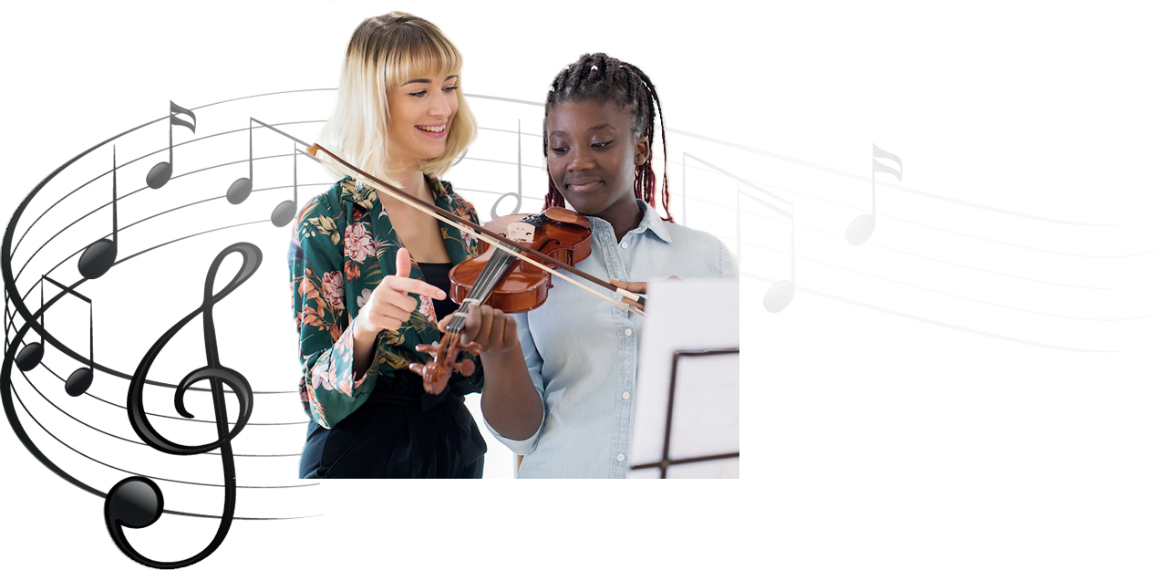 Instructor teaching her student how to play Violin
