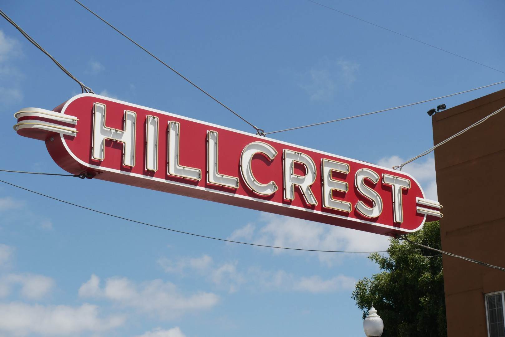 Top sign view in Hillcrest County California