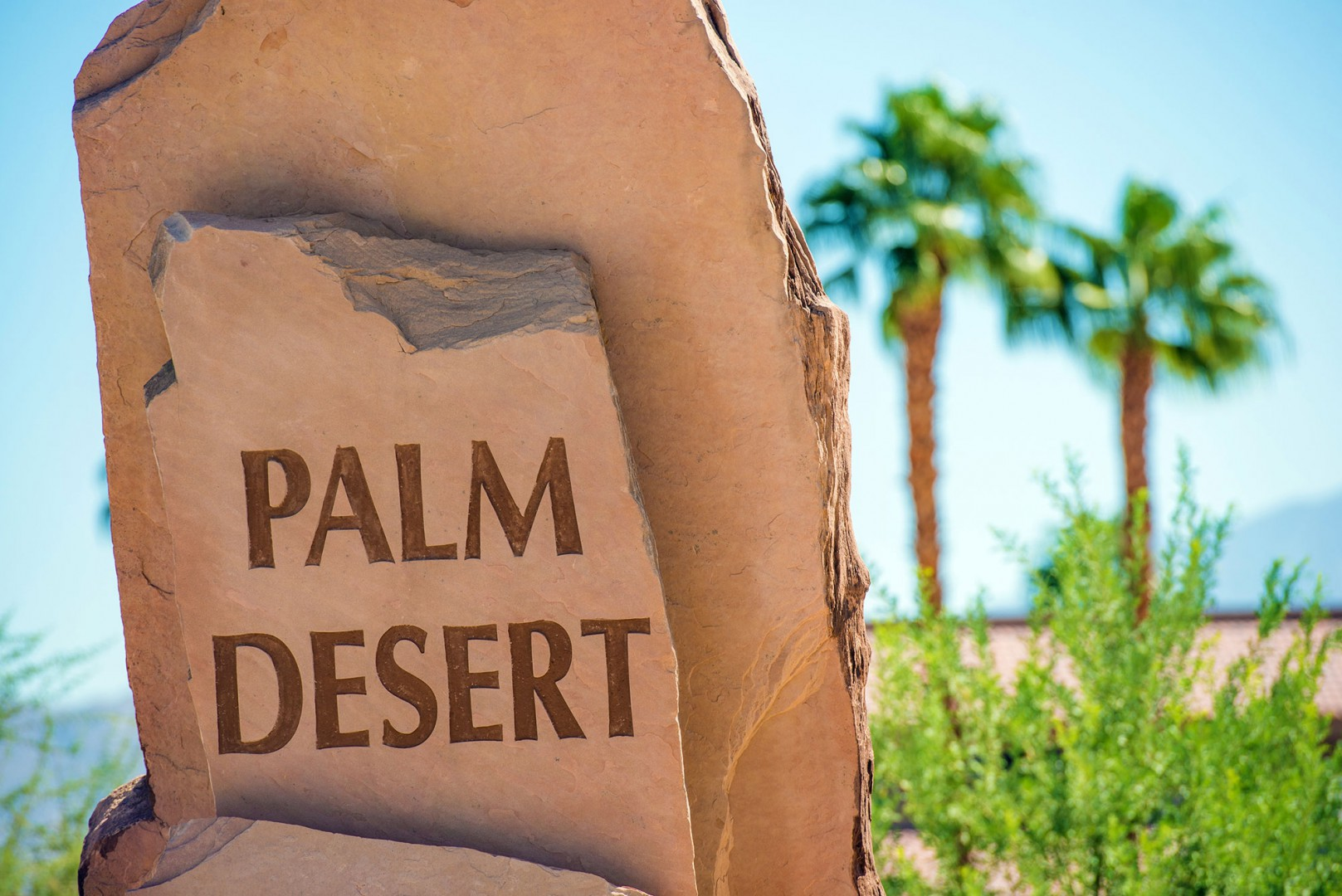 Stone signage located in Palm Desert County California