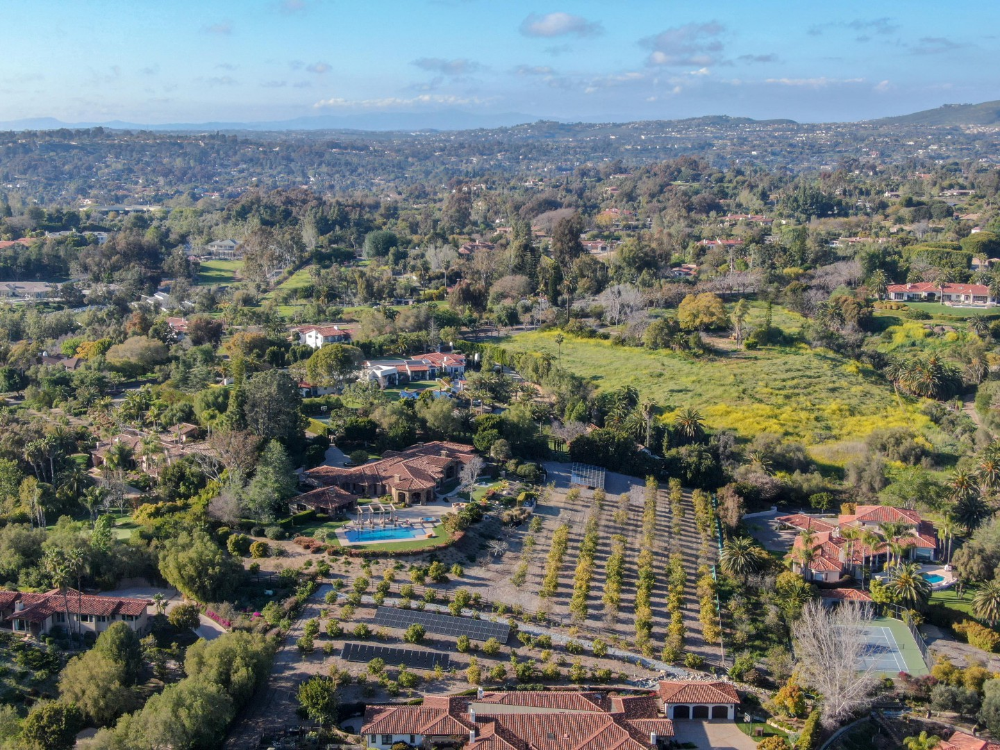 Beautiful mansion view in Rancho Sante Fe County California