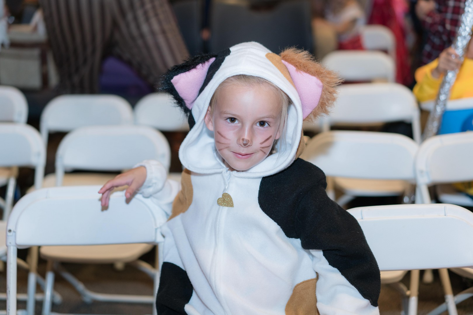 Little kid in a panther costume