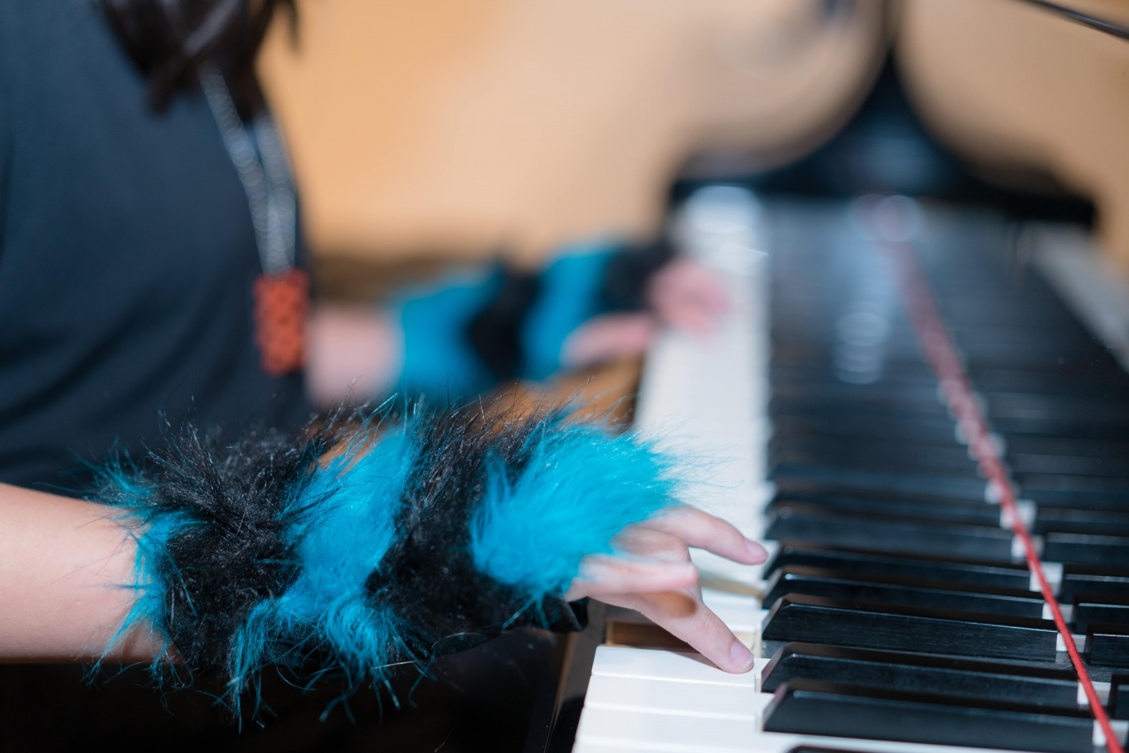 A woman playing the piano