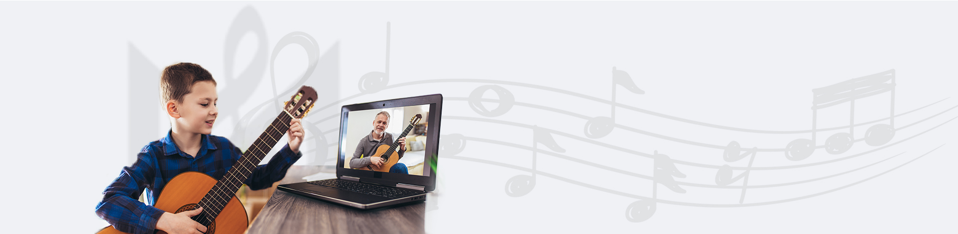 Guitar instructor teaching guitar lessons online (Online Lessons)