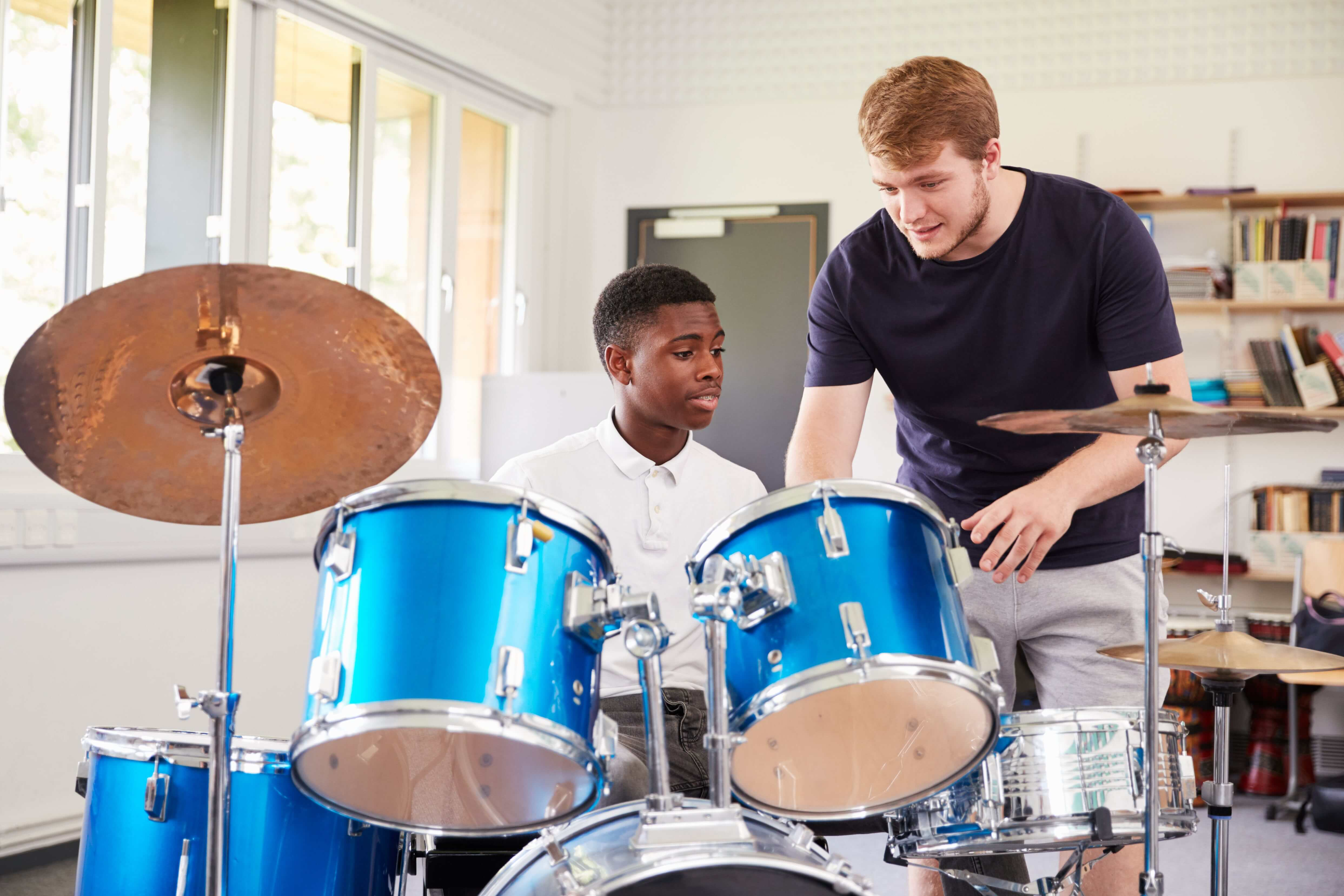 Students discussing their Drum lessons